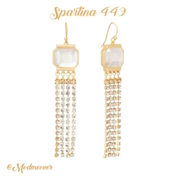 Spartina 449 Jewelry - Spartina 449 NEW Pearlescent Gold Fringe Earrings
